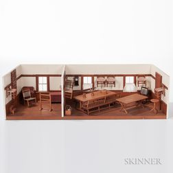 Scale Diorama of Shaker Rooms and Contents