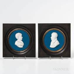 Two French White Stoneware Portrait Plaques