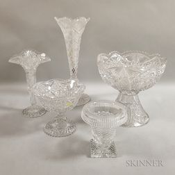 Five Pieces of Colorless Cut Glass