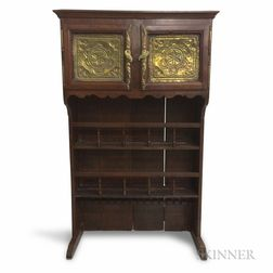 French Fruitwood and Pierced Brass Cupboard