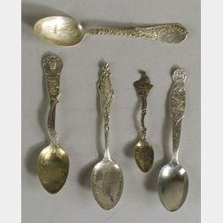 Five Sterling Figural Souvenir Spoons