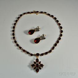 Antique Garnet Necklace and Earpendants