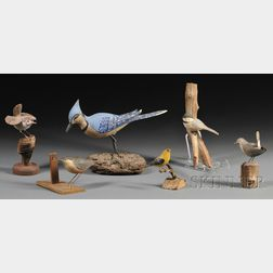Six Carved, Painted, and Mounted Miniature Bird Figures
