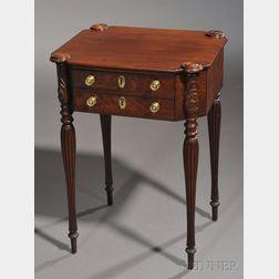 Federal Mahogany Carved and Mahogany Veneer Work Table