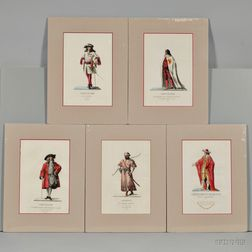 Costume Plates, Five Hand-colored Etchings.