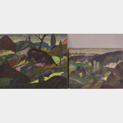 Leighton Cram (American, 1895-1981)      Two Landscapes.