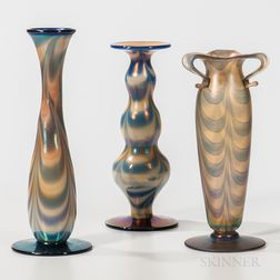 Three Imperial Art Glass Vases with Dragged Loop Decoration