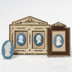 Four Wedgwood Solid Light Blue Jasper Portrait Medallions