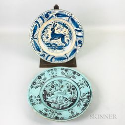 Faience Charger with Stag Decoration and a Blue and White Charger with Rabbit Decoration