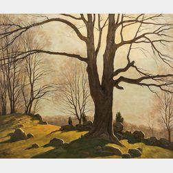 Bertram George Bruestle (American, 1906-1968)      Connecticut Landscape, Autumn Afternoon