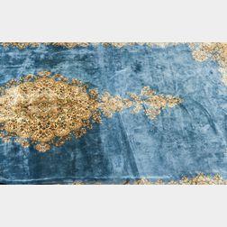Room-size Kerman Carpet with Blue Field