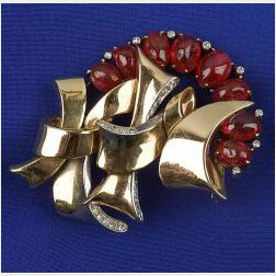 Retro Bi-color 14kt Gold and Ruby Brooch