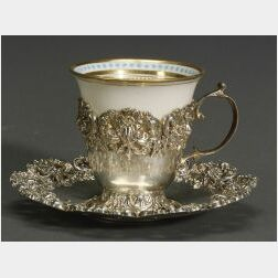 """Set of Twelve Sterling Framed Lenox """"Jeweled"""" Porcelain Demitasse Cups and Saucers"""