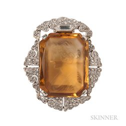 Edwardian Citrine Cameo and Diamond Brooch