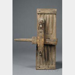 African Carved Wood Door Latch