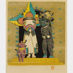 Gustave Baumann (German/American, 1881-1971)      Strangers from Hopiland.
