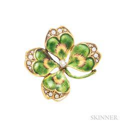 Enamel Four-leaf Clover Pin