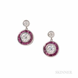 18kt White Gold, Diamond, and Ruby Earpendants