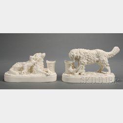 Pair of Parian Ware Dog Sculptures