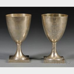 Near Pair of George III Silver Goblets
