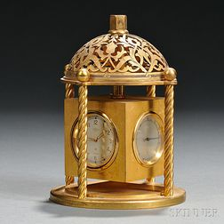 Traveling Gilt Brass Desk Clock