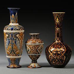 Three Doulton Lambeth Edith Lupton Decorated Stoneware Vases