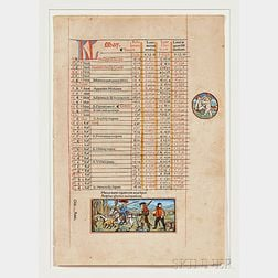 Manuscript Leaf; Two Leaves from an Early Book; Document; and Print.