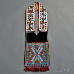 Great Lakes Loom-beaded Cloth Bandolier Bag