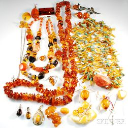 Group of Amber and Amber-type Jewelry