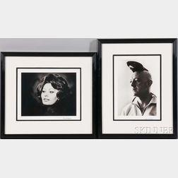 Roddy McDowall (English, 1928-1998)      Two Portraits: Alec Guinness, New York City