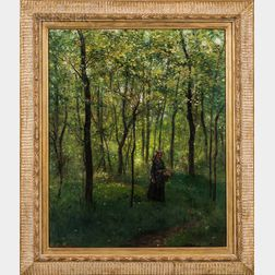 John Worthington Mansfield (American, 1849-1933)    Woman in Barbizon Forest