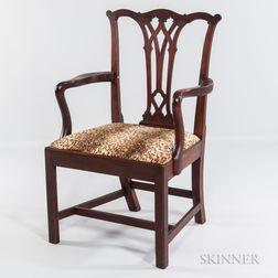 Carved Walnut Armchair