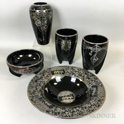 Five Silver Overlay Glass Vessels