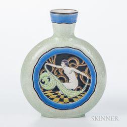 Longwy Enameled Pillow Vase