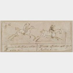 Attributed to James Seymour (British, 1702-1752)  Horse Race Sketch