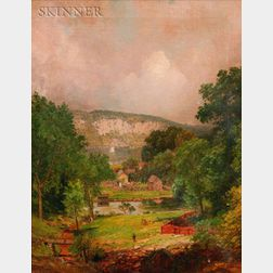 Jasper Francis Cropsey (American, 1823-1900)    Looking Down the Ravine at Hastings