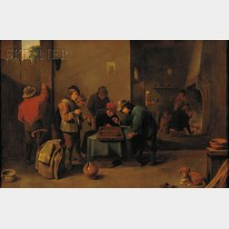 School of David Teniers II (Flemish, 1610-1690)      The Tric Trac Players