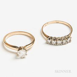14kt Gold and Diamond Wedding Set