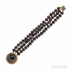 14kt Gold and Garnet Bracelet