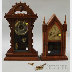 Waterbury Rosewood Veneer Steeple Shelf Clock and a Waterbury Victorian Arcade   Shelf Clock