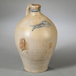 Stoneware Jug with Incised Fish Decoration