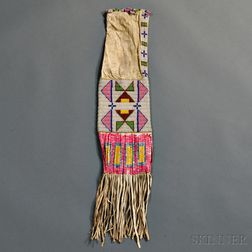 Lakota Beaded and Quilled Hide Pipe Bag