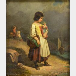 School of Hans Thoma (German, 1839-1924)      Peasant Girl Holding a Basket and Doll