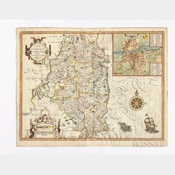 Ireland, Leinster County, Dublin. John Speed (1552-1629) The Countie of Leinster with the Citie Dublin Described.