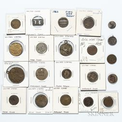 Twenty-one Trade Tokens, Love Tokens, Civil War Tokens, Commemorative Tokens, and Coins