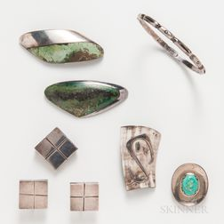 Seven Pieces of Mexican Jewelry by Hector Aguilar, Los Ballesteros, Enrique Ledesma, and William Spratling