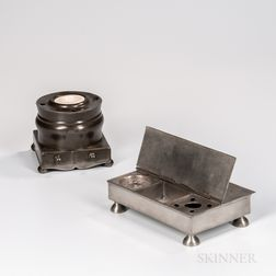 Two Pewter Inkstands