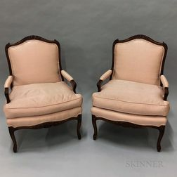 Pair of French Provincial-style Upholstered Fruitwood Fauteuil