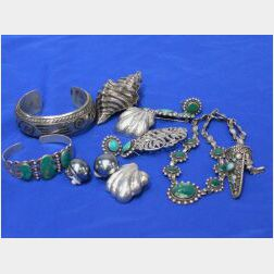 Group of Eight Mexican Silver and Turquoise Jewelry Items
