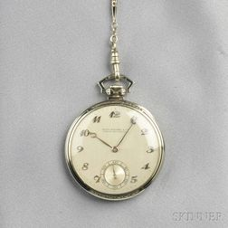 Art Deco 18kt White Gold and Enamel Open Face Pocket Watch, Patek Philippe